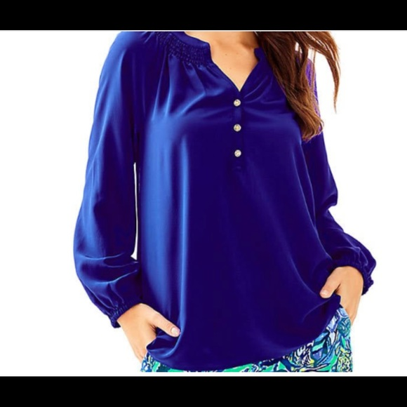 Lilly Pulitzer Tops - Lilly Pulitzer Elsa Silk top in deep blue